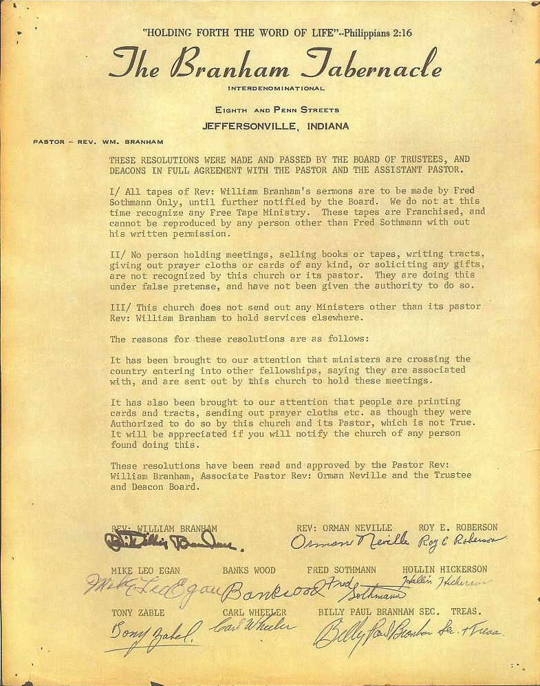 Branham Tabernacle non viable Franchise Document over William Branham's Sermons